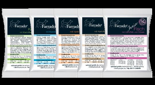100 gr. d'échantillons de nourriture sèche Farrado, sans céréales et sans gluten Truite sans cereales