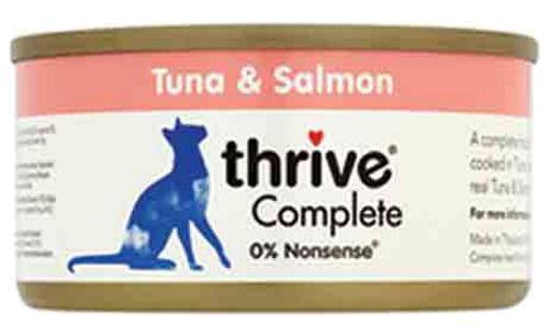 THRIVE 12 Boîtes à 75 gr. Chat & Chaton - paquet d'économies Filet de Thon et Saumon