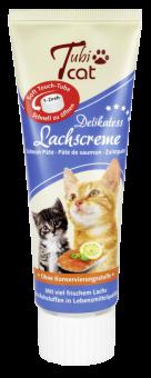 Tubi Friandises Chat Crème de Saumon Affiche Merchandising á 12 Tubes